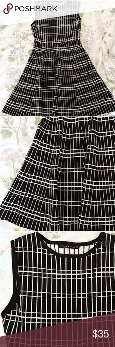 Zara Knit Dress!!! Brand New!! Black and White Knit Grid Dress!! Large But Fits like Medium so it is listed as such. Zara Dresses Mini
