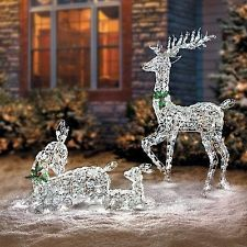 Outdoor Lighted Pre Lit Holiday 3 Pc Christmas Reindeer Set Yard Art Scene Decor