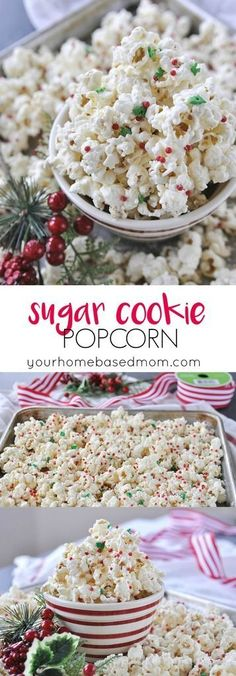 Sugar Cookie Popcorn Recipe - This yummy treat has a secret ingredient youre going to love. Healthy game movie gluten free girls ideas date late carvings fight poker triva ladies guys friday burns hens saturday easy photography party boys market quotes co Christmas Desserts, Holiday Treats, Christmas Treats, Holiday Recipes, Christmas Popcorn, Christmas Recipes, Christmas Appetizers, Christmas Cookies, Yummy Treats