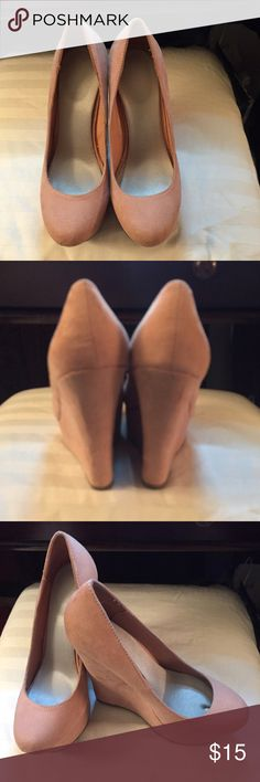 Wedges 5 inch heel, Only worn once. Sorry no trades. Peach color.                                          .                                                       🔶Bundle other items to save.                                                                      🔶No Trades Please.                                                                                                          🔶Will ship within 24hours Monday-Friday. No Shoes Wedges
