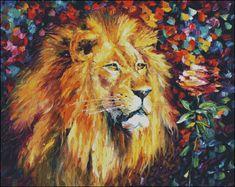 Lion of Judah Prophetic Art. Lion painting by Leonid Afremov. Lion Painting, Oil Painting On Canvas, Painting Prints, Knife Painting, Artist Painting, Art Prints, Canvas Pictures, Art Pictures, Art Images