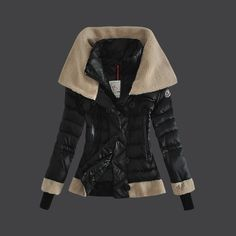2013 New! France Moncler Women Down Jacket Double Stand Collar Black Outlet