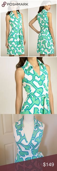 """St. Jude Wrap Dress Classic Diane von Furstenberg wrap dress. Colorful allover print transforms a collared wrap dress, styled with a low V-neckline and a waist tie. Approx. length from shoulder to hem: 38"""". Silk; dry clean. White background with a lighter green and turquoise blue . Diane von Furstenberg Dresses"""