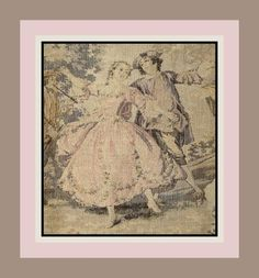 Antique French Rococo Woven Tapestry