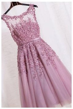 Elegant Appliques Prom Dress,Formal Sleeveless Tulle Homecoming Dress – Simibridaldress