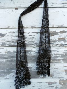 Antique Black Mourning Lace Scarf Victorian Edwardian.  via Etsy.