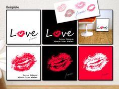 Dein Kußabdruck als Liebeserklärung 2er-Set - ein Designerstück von bg-color bei DaWanda