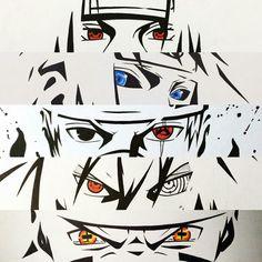 Itachi Uchiha, Minato Namikaze, Kakashi Hatake, Sasuke Uchiha and Naruto Uzumaki Naruto Uzumaki, Anime Naruto, Naruto Eyes, Naruto And Sasuke, Kakashi Hatake, Naruto Nails, Konoha Naruto, Sasunaru, Naruto Tattoo