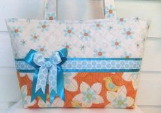 Aqua and Orange Cute Birds and Flowers Quilted by MsSewItAll32, $40.00
