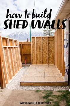 Do you have big plans of building a lean-to shed in your yard? Learn how to create your very own DIY shed plans and see the step-by-step process of building the walls for the shed. garden shed diy Build Shed Walls plus Floor Shed Construction, Construction Materials, Firewood Shed, Build Your Own Shed, Diy Shed Plans, Lean To Shed Plans, Wood Shed Plans, Backyard Sheds, Garden Sheds