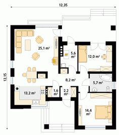 Umbra 88.00 m2   Projekt domu tradycyjnego   projekty domów   kreoDOM.pl Two Bedroom, House Plans, Floor Plans, Home, Home Plans, Flats, Ad Home, Homes, House Floor Plans