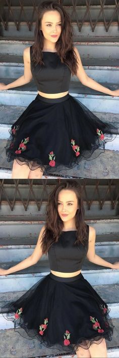 two piece black homecoming dresses,tulle short prom dress with flower,cute stain party gowns for teens,cheap dresses