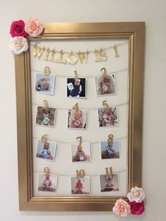 Photo board inspiration - New Deko Sites Diy 1st Birthday Decorations, 1st Birthday Party For Girls, First Birthday Photos, Birthday Pictures, Baby Birthday, Birthday Ideas, Birthday Picture Displays, Foto Baby, 1st Birthdays