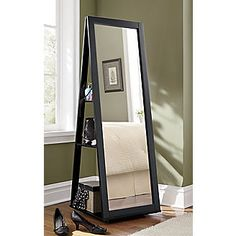 With Full Length Wall Mirror Storage : ... NewRoom on Pinterest  Black desk, Black chairs and Black wall mirrors