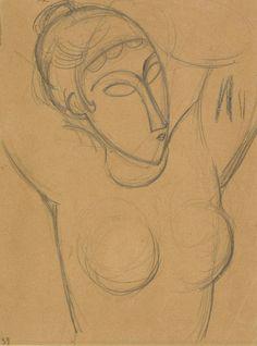 Amedeo Modigliani (Italian, 1884-1920),Cariatide, 1913-14. Pencil and blue wax crayon on buff paper, 26.8 x 20.3 cm.