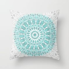 A Glittering Mandala Throw Pillow by Octavia Soldani - Cover x with pillow insert - Indoor Pillow Cute Cushions, Cute Pillows, Throw Cushions, Down Pillows, Turquoise Throw Pillows, Mandala Azul, Mandala Throw, My New Room, Dorm Decorations
