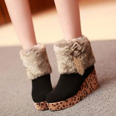 Popular Furry Leopard Printing Round Toe Women's Ankle Boot