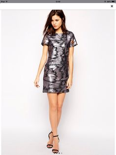 Warehouse Metallic Dress