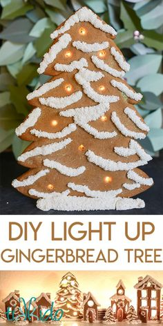 Tutorial for how to make an LED light-up gingerbread Christmas tree decoration.