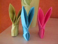 Pliage de serviette forme lapin