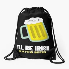 Backpack Bags, Drawstring Backpack, St Patricks Day, Woven Fabric, Irish, Beer, Backpacks, Printed, Ireland