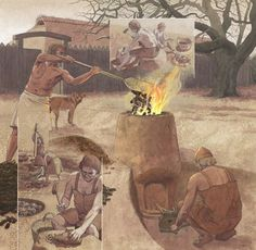 The extraction and processing of iron from bog iron ore Iron Age, Prehistoric Age, Vikings Time, Hallstatt, Germanic Tribes, Primitive Technology, Ancient Mesopotamia, Classical Antiquity, Viking Age