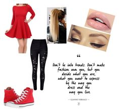 """""""#Red"""" by queen-sanja on Polyvore featuring WithChic, Converse and Jane Iredale"""