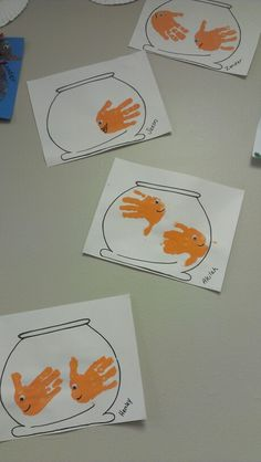 handprint gold fish craft, fish bowl ocean sea week