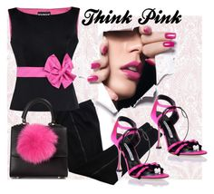"""""""Think Pink"""" by ejuszczyk ❤ liked on Polyvore featuring COSTUME NATIONAL, Manolo Blahnik, Boutique Moschino and Les Petits Joueurs"""