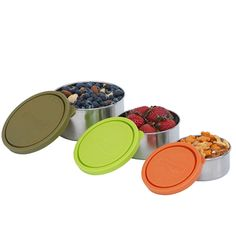 This set of 3 containers are fantastic for storing all of your snacks when you are on the go. Being leak-proof you can even pack yoghurt, salad or sauces for a trip to the park or for a picnic.  #kidskonserve #bpafree #steelsnackcontainers Snack Containers, Large Containers, Stainless Steel Containers, Sauces, Lunch Box, Picnic, Salad, Dips, Bento Box