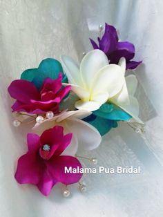 TROPICAL HAIR Clip, Orchid Wedding headpiece, hair flowers, hair accessory, bridal clip, silk hair flower, headpiece, Wedding Hair Accessory by MalamaPuaBridal on Etsy