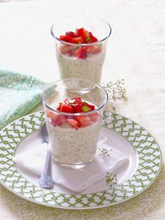 Strawberry Rice Pudding- use brown sugar or palm sugar instead of regular sugar and use lactose-free milk and then this will be FODMAP friendly.