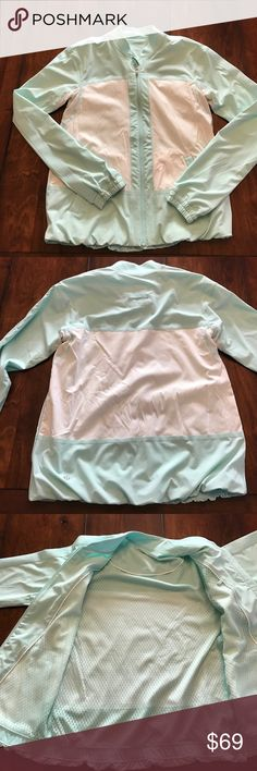 Lululemon jacket Excellent pre owned condition. Gorgeous light blue and white. Super light! lululemon athletica Jackets & Coats