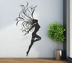 Naked Woman with Flowing Hair Contemporary Wall Art Mural Decal Sticker