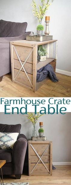 Farmhouse Crate End Table - DIY Woodworking Plans perfect for your living room area
