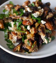 Roasted Eggplant Salad with Smoked Almonds & Goat Cheese. Can leave out the cheese to make it paleo friendly :)