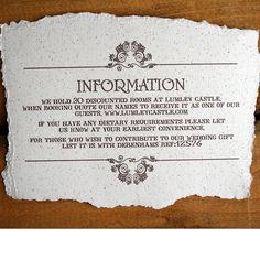 vintage style wedding invitation information card
