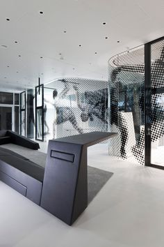 adidas Laces by kadawittfeldarchitektur in Herzogenaurach, Germany - rounded office corners and graphic make a very dynamic design design interior design house design interior design Fitness Design, Gym Design, Retail Design, Design Hotel, House Design, Environmental Graphic Design, Environmental Graphics, Gym Interior, Interior Architecture