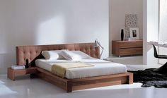 modern bed with unique headboard