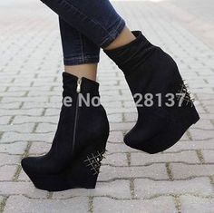 (115.99$)  Buy here - http://aig9t.worlditems.win/all/product.php?id=32723349651 - High Fashion Designer Brands 2015 New Women Womens Shoes Wedges Party Dresses Black Platform Shoes Leather High Heels Size 1