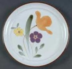 Noritake Stoneware Salad Plate Hello Spring Pattern on White with Brown Trim | eBay