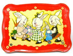 1930s Tin toy tea tray, Bunny's Birthday Party. by AlliesAdornments, via Flickr