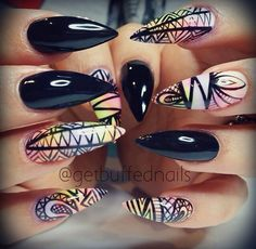 Tribal nails with black base