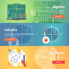 Mathematical Science Flat Banners Set