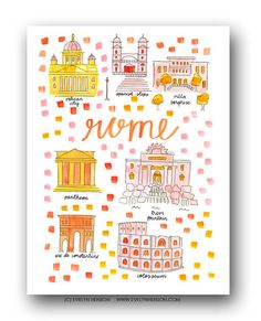 Rome Map Print by Evelyn Henson
