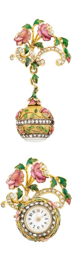 Antique Gold, Silver, Enamel and Diamond Lapel Pendant-Watch. Topped by a delicate garland motif, applied with pink enamel flowers and green enamel leaves, the scrolled ribbons set with old-mine and rose-cut diamonds, suspending a finely textured ball pendant-watch applied with a floral motif of similar design, accented by two bands of rose-cut diamonds, centering a circular white porcelain enamel dial with blue and red Arabic numerals, with French import mark, watch detachable, circa 1890.