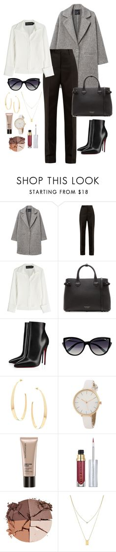 """""""Business Casual"""" by fandoms-and-fashion ❤ liked on Polyvore featuring MANGO, Maison Margiela, Brandon Maxwell, Burberry, Christian Louboutin, La Perla, Lana, Bare Escentuals, Urban Decay and lilah b."""