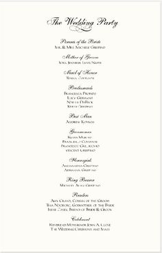 sample wedding reception program | Ceremony | Pinterest | More ...
