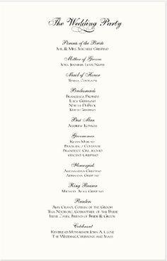 sample wedding reception program | Ceremony | Pinterest | More ...