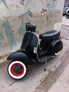 Flat Black Vespa Motor Scooter - Red Rims & Whitewalls...: